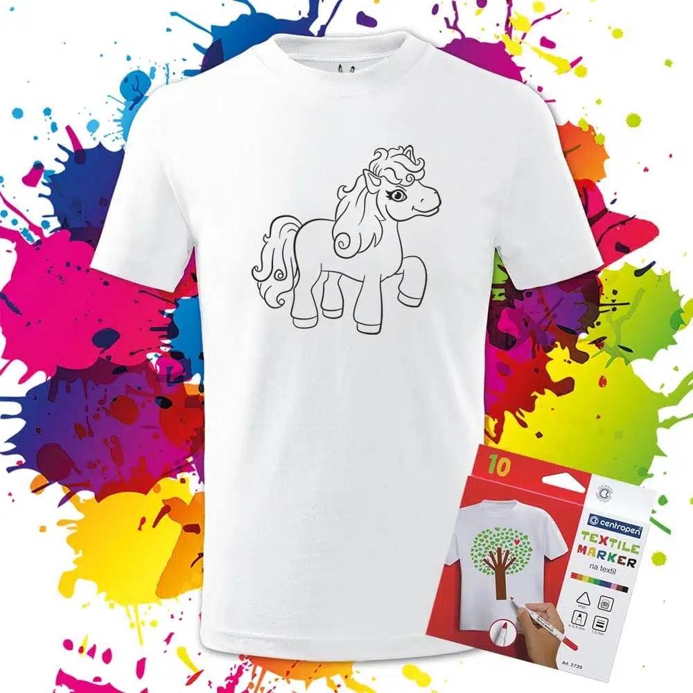 Detské tričko Poník - Omaľovánka na Tričku - Oma & Luj