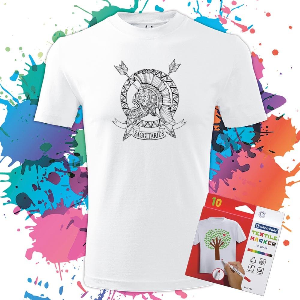 Pánske tričko Strelec- Znamenia - Omaľovánka na tričku - Oma & Luj