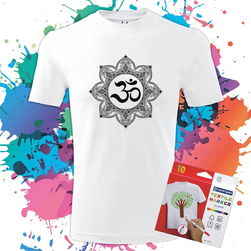 Pánske Tričko Mandala Ohm - Omaľovánka na tričku - Oma & Luj