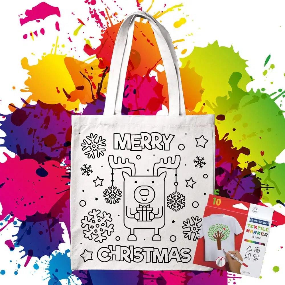 Bavlnená taška na vymaľovanie Merry Christmas Sobík - Oma & Luj