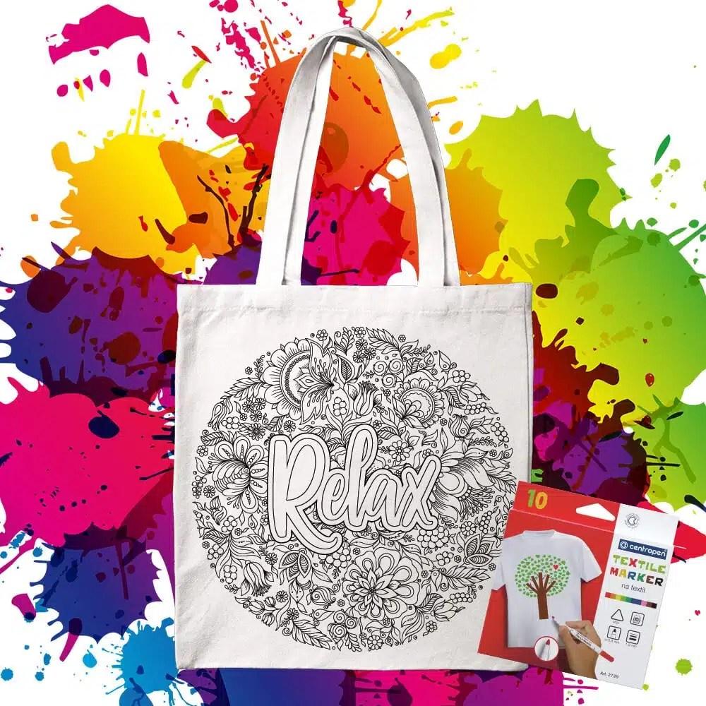 Bavlnená taška na vymaľovanie Relax - Oma & Luj