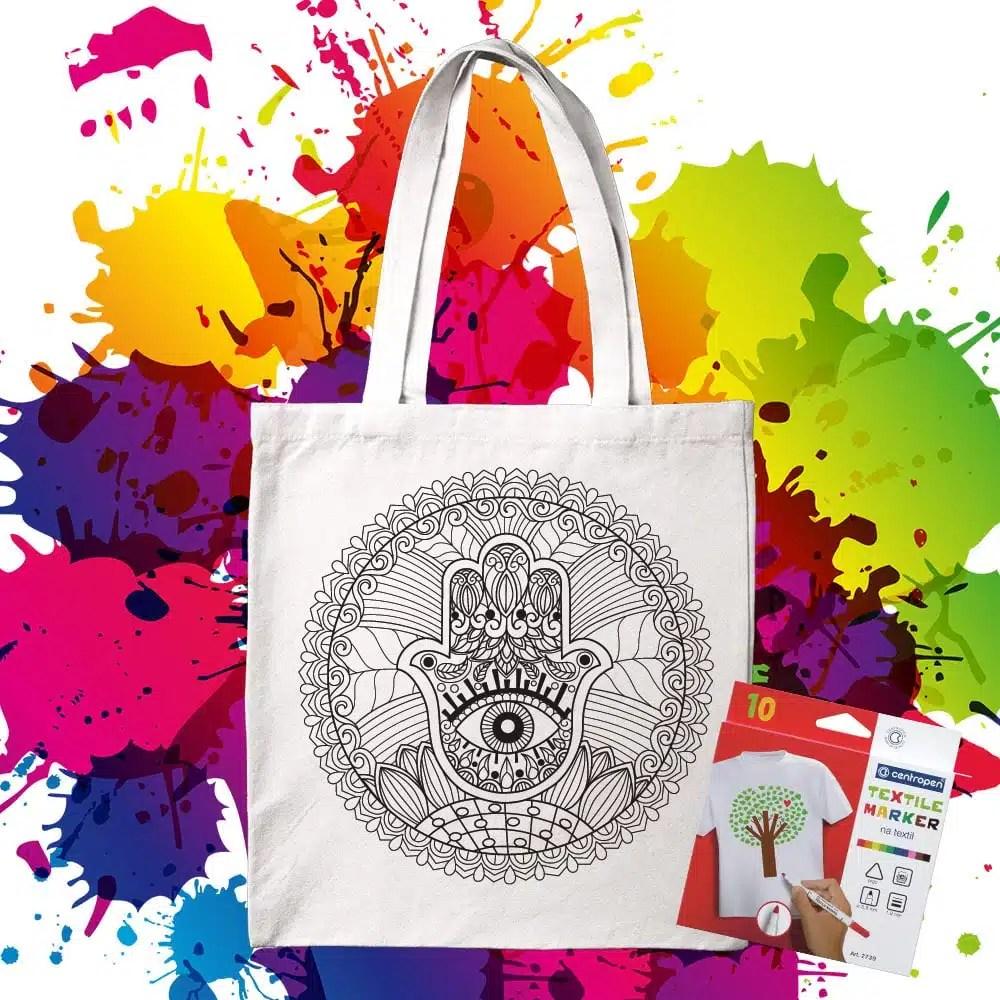 Bavlnená taška na vymaľovanie Mandala Hamsa - Ochranná ruka Márie - Oma & Luj