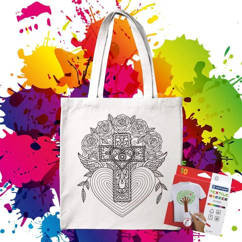 Bavlnená taška na vymaľovanie Hamsa v krížy so srdcom - Oma & Luj