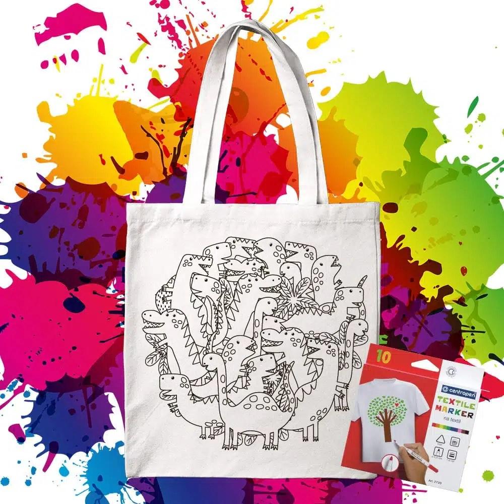 Bavlnená taška na vymaľovanie Dinosaury na kope- Oma & Luj