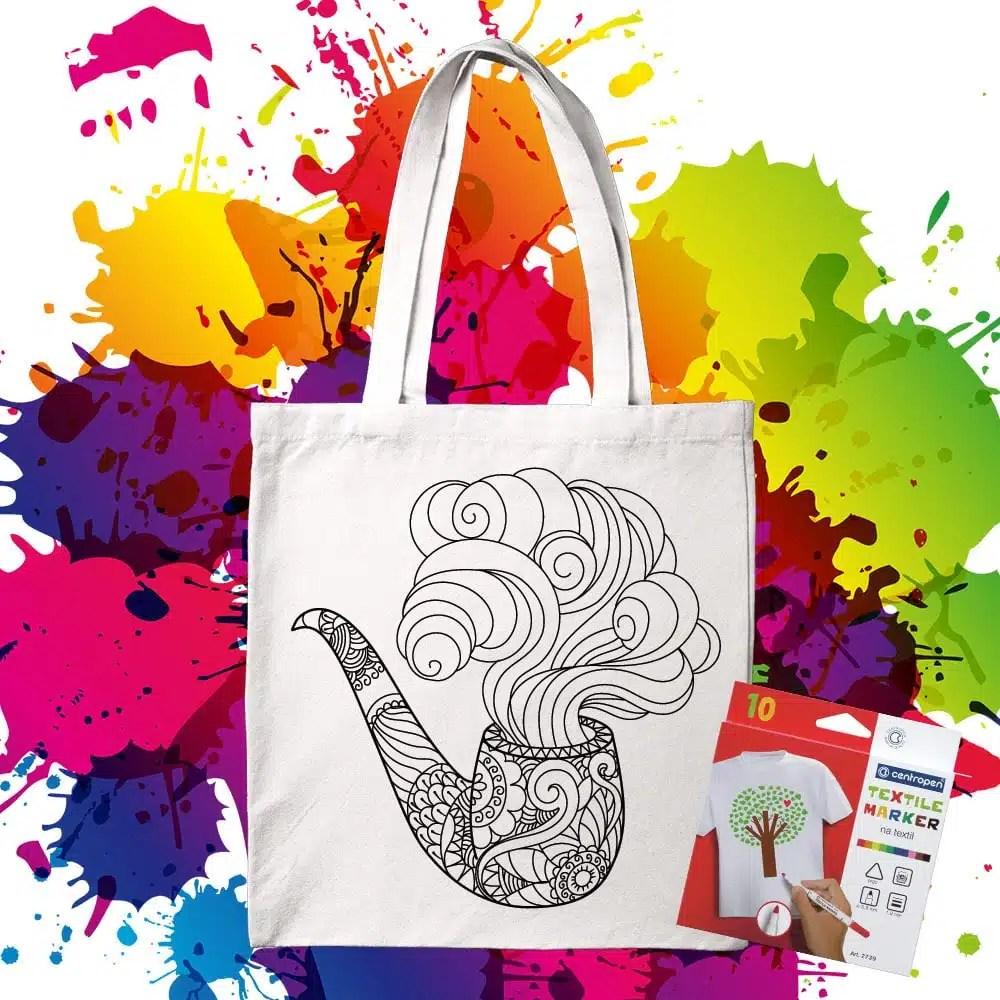 Bavlnená taška na vymaľovanie Fajka - Oma & Luj
