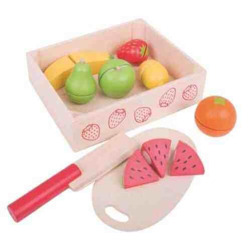 Drevené potraviny v krabičke - Krájanie ovocia - Oma & Luj