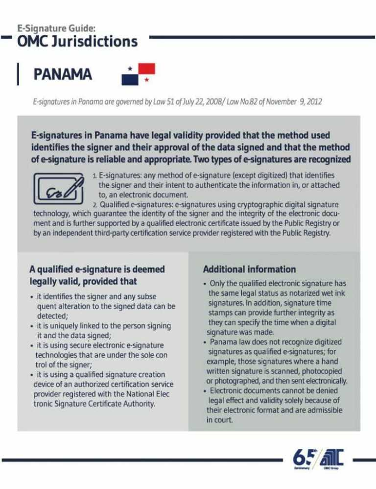Panama - E-Signature Guide OMC Group Jurisdictions