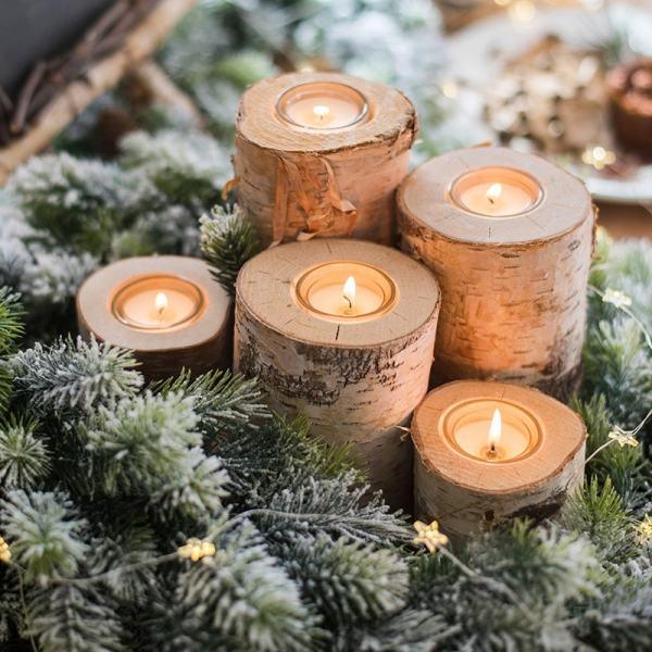 lot de 3 bougeoir en bois clair avec ruban pour décoration rustique et design