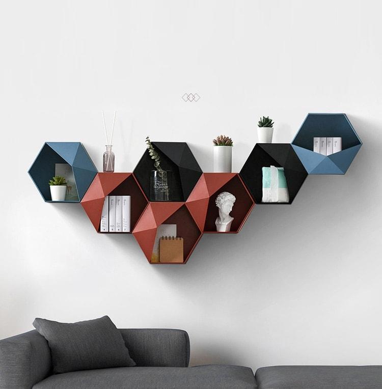 étagère mural géométrique décoration intérieur style scandinave
