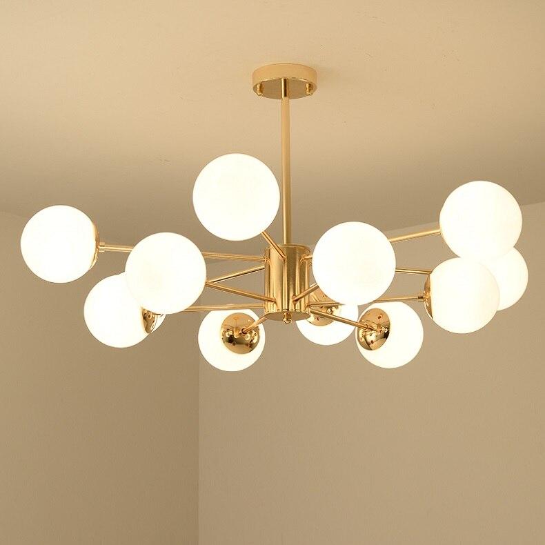 Lus® – Grand lustre chic et élégant doré avec 12 globes