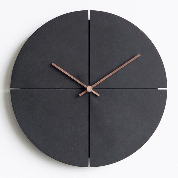 horloge scandinave design bois noir