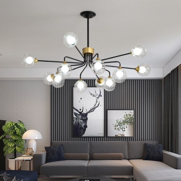Lustre décoratif d'intérieur chic et industriel 12 branches
