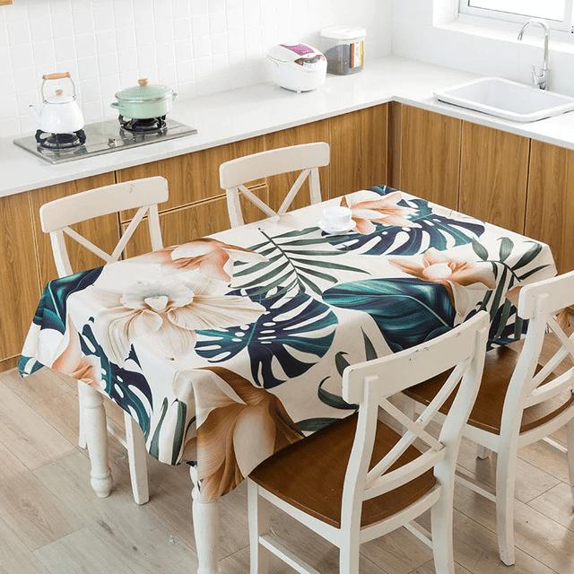 nappe table motif tropical feuilles couleur
