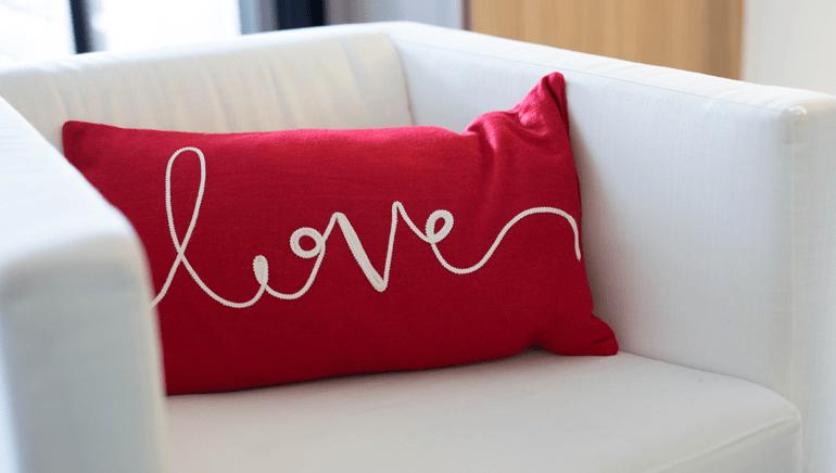 coussin décoration saint Valentin