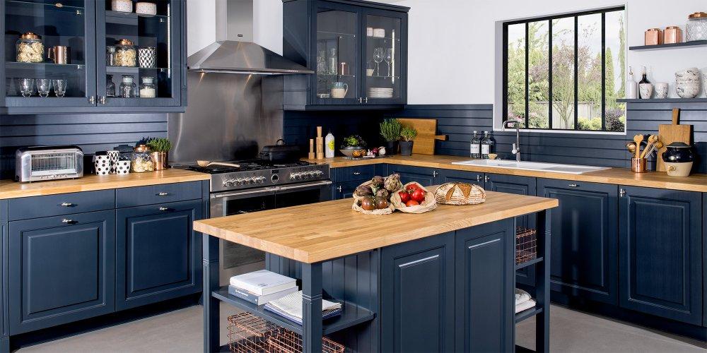 décoration tendance cuisine couleur bleue