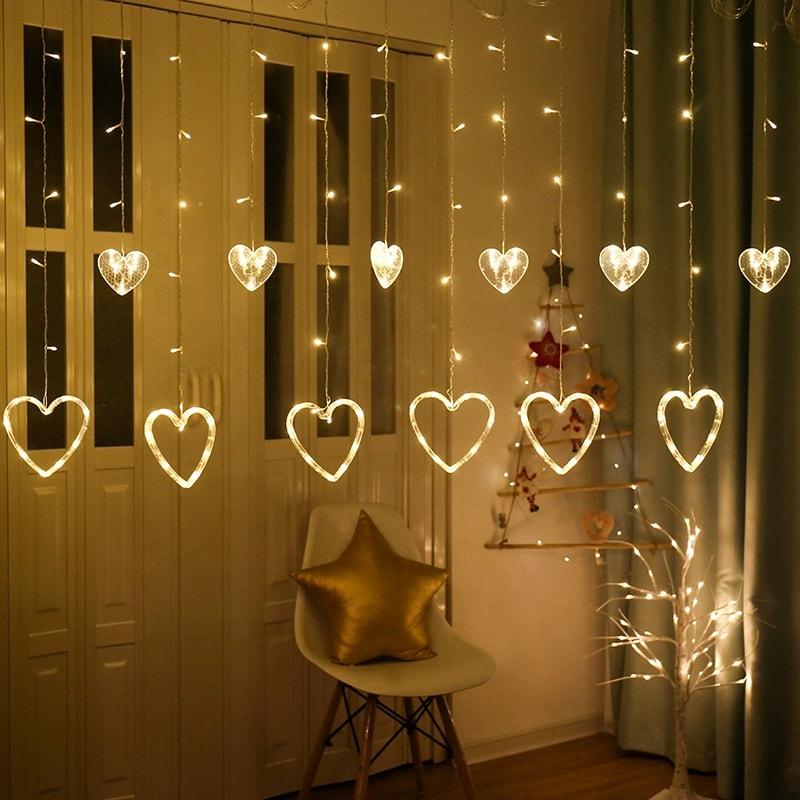 rideau led forme coeur blanc chaud