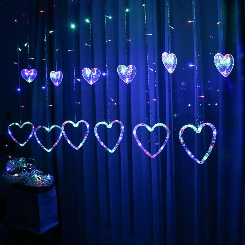 rideau led forme coeur multicouleur décoration saint valentin