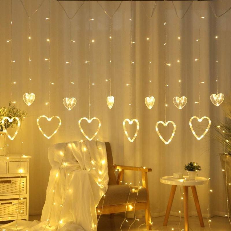 rideau led forme coeur blanc chaud décoration intérieur
