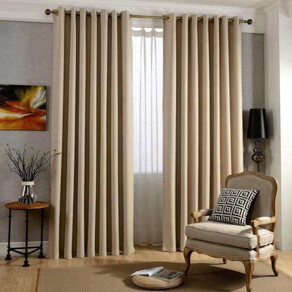 rideau moderne occultant beige décoration salon