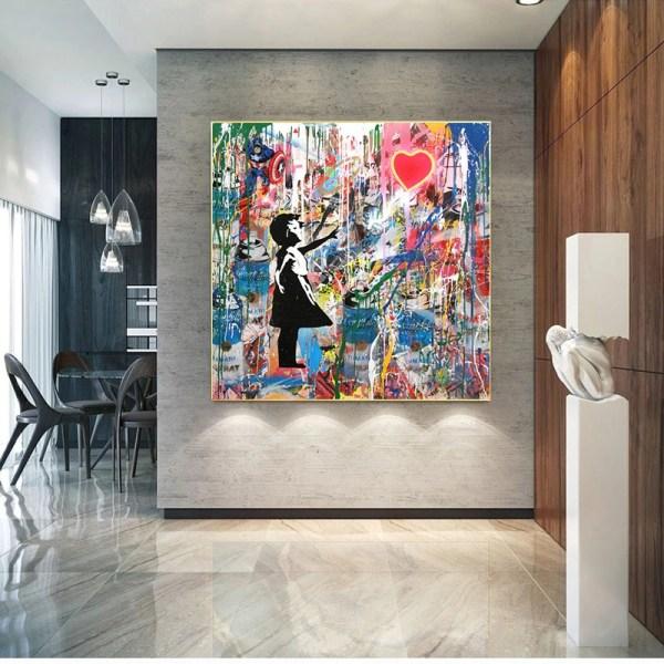 toile street art style banksy décoration intérieur