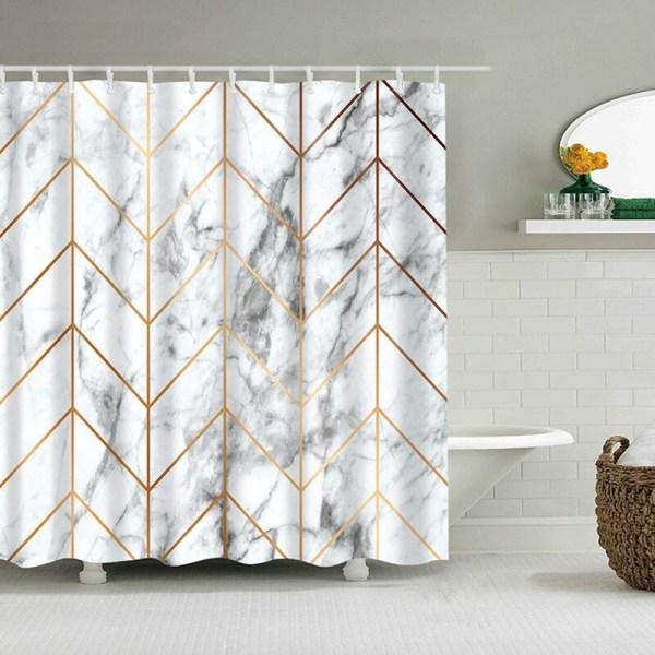 Rideau de douche avec un effet marbre couleur blanc