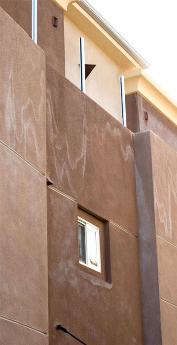 Picture of stucco wall efflorescence.