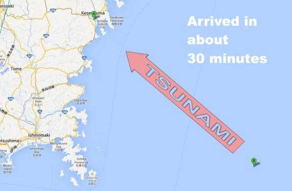 Tohoku Tsunami location and direction to point of view