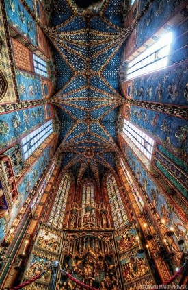 Ceiling over St. Mary's Altar, Krakow , Poland