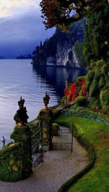 Gate opening to Lake Como, Northern Italy