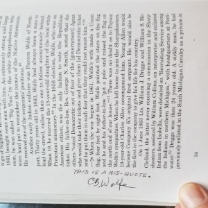 Correction to text, penned in to the margin by Clarence Burnside Wolfe