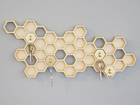 Gold Honeycomb Key Hanger