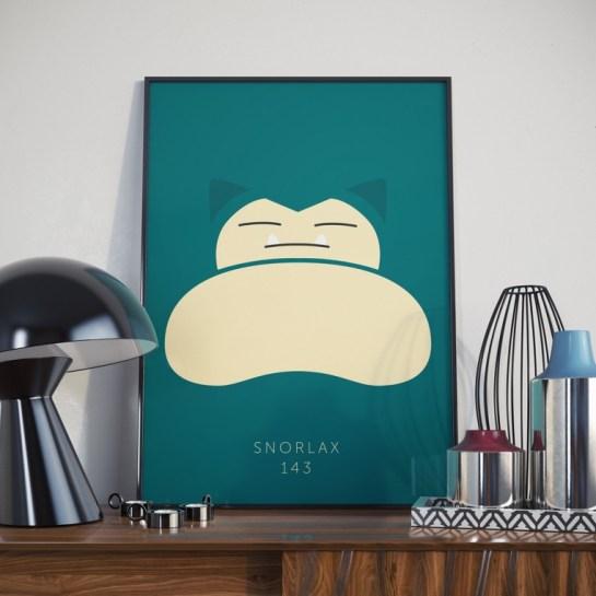 Minimalist Snorlax Pokemon Print