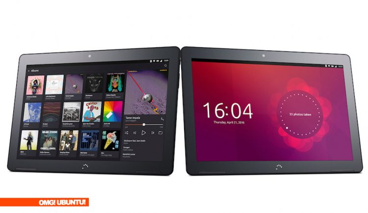 Bq Ubuntu tablet in landscape