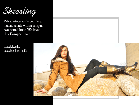 Pair a winter-chic coat in a neutral shade with a unique, two-toned boot. We loved this European pair!