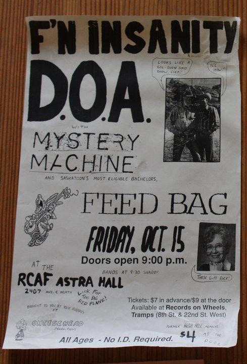 d.o.a., feedbag at RCAF ASTRA HALL