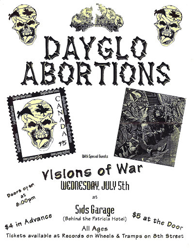 visions of war, dayglo abortions at Sid's Garage 1995