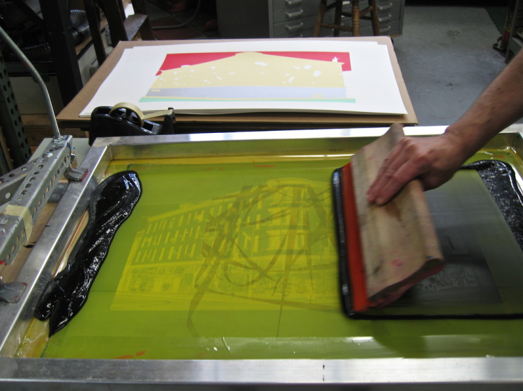 "Screen printing - photo via Flickr user ""solsken"", Creative Commons"