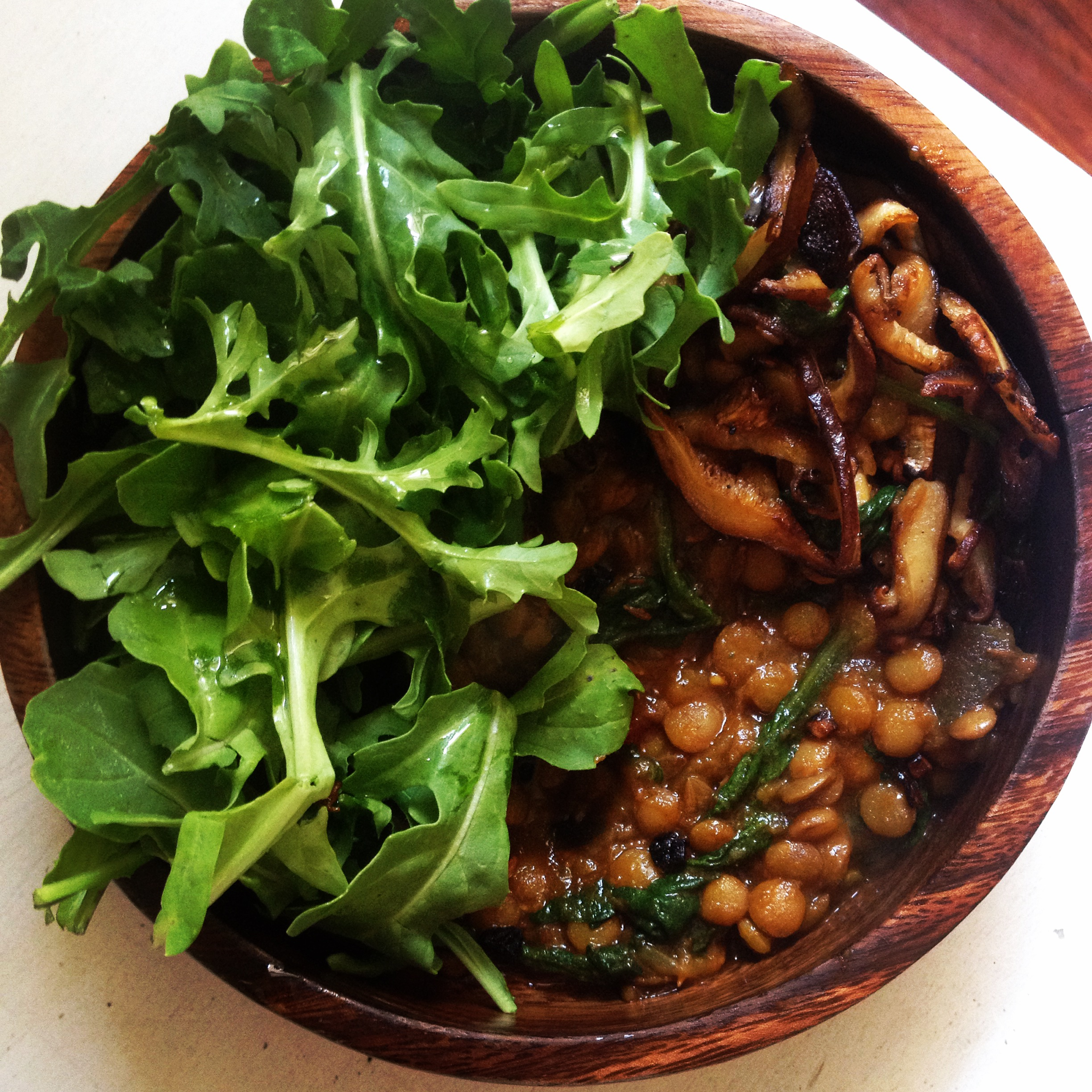 Curry lentils with eggplant, tomato and spinach