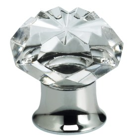 Item No.4901 (Cabinet Knob - Crystal) in finish Transparent Glass with US26 (Polished Chrome) Base