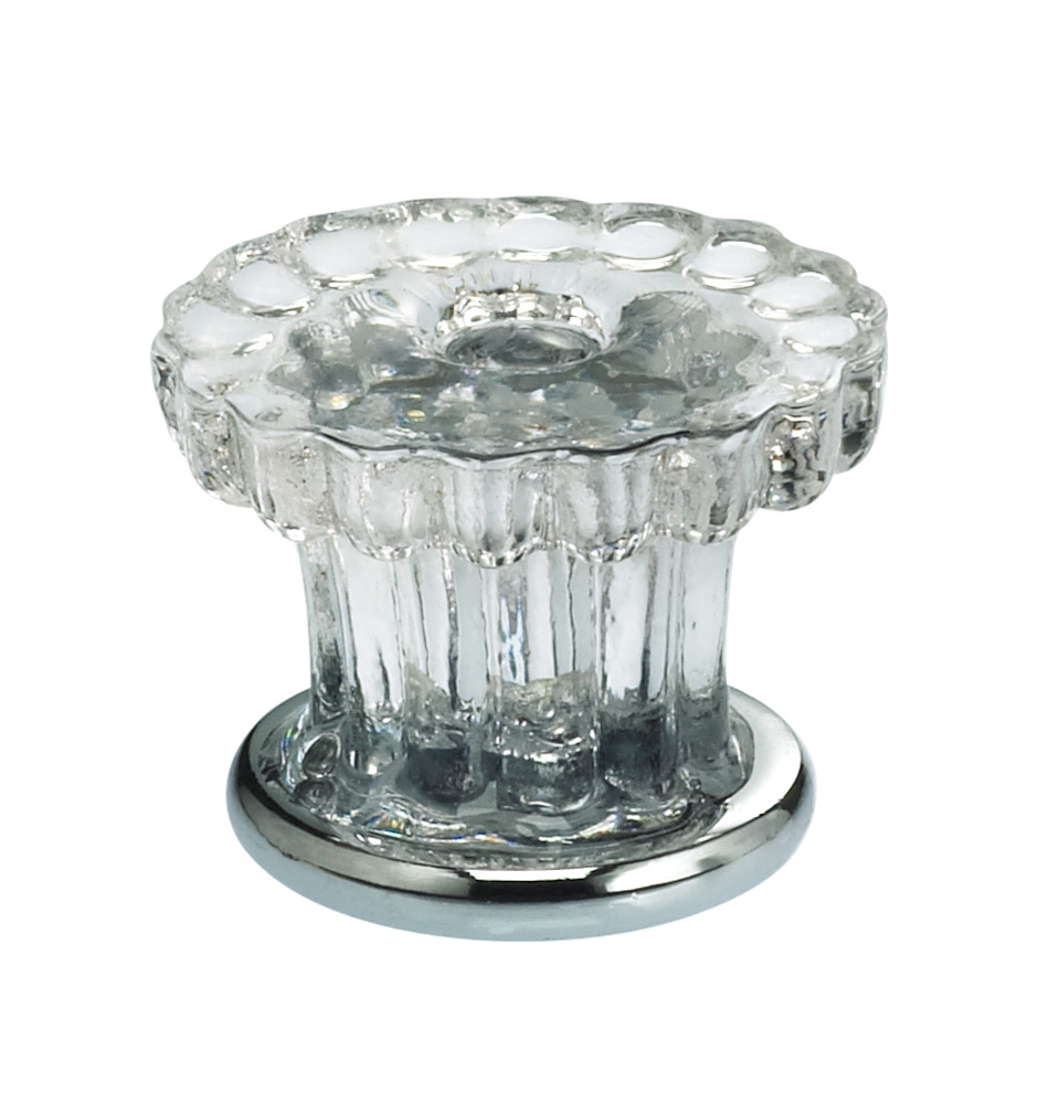 Item No.4909/30 (Cabinet Knob - Glass) in finish Transparent Glass with US26 (Polished Chrome) Base