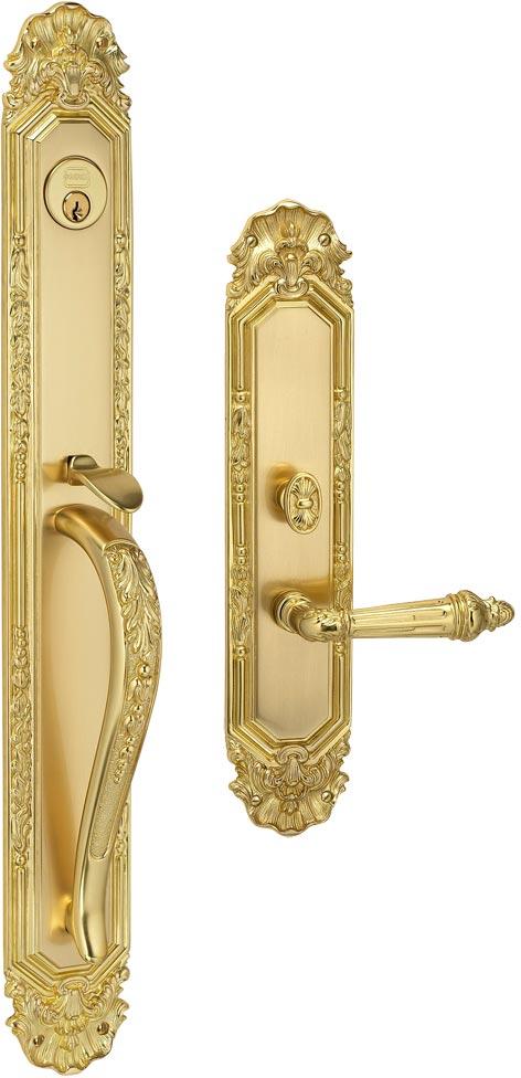 Item No.Amagansett w/340 (Exterior Ornate Mortise Entrance Handleset Lockset - Solid Brass)