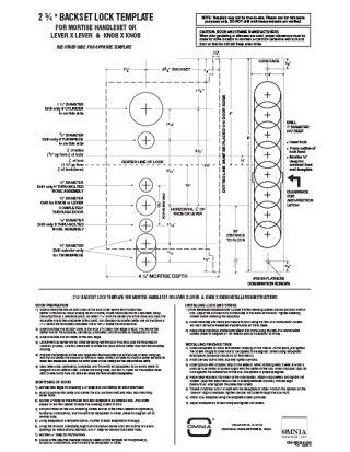 OMNIA 2.75″ Backset Mortise Handleset Locksets Installation Template