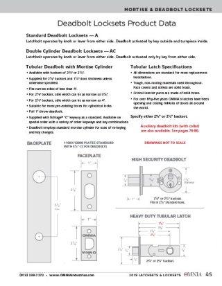 OMNIA Deadbolt Locksets Product Data