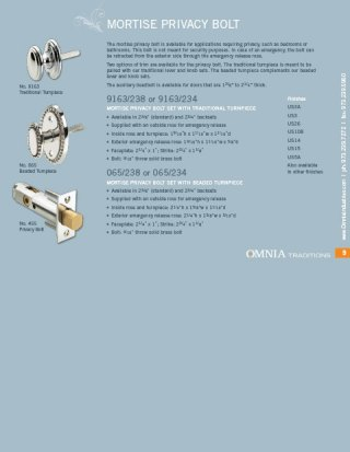 OMNIA Traditions Privacy Bolt Sets Product Data