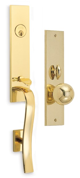 Item No.Waldorf w/ 198 trim (Exterior Traditional Mortise Entrance Handleset Lockset - Solid Brass)
