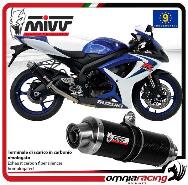 mivv gp exhaust slip on homologated carbon high up for suzuki gsxr600 2006 2007