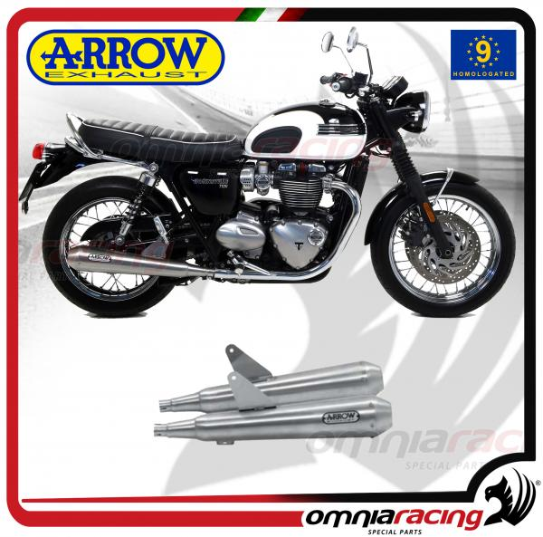 arrow pair exhausts pro racing stainless steel homologated for triumph bonneville t120 2016