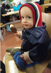 My nephew enjoying an icecream at Knowsley Safari Park