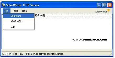 Solarwinds TFTP server configure menu