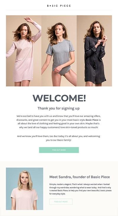 Le premier accueil email dans notre accueil email la série présentera la marque
